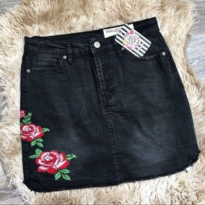 Little Gypsie Black Denim Floral Embroidered Skirt